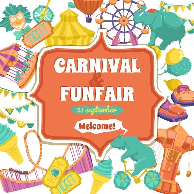 Fun fair and carnival poster Free Vector
