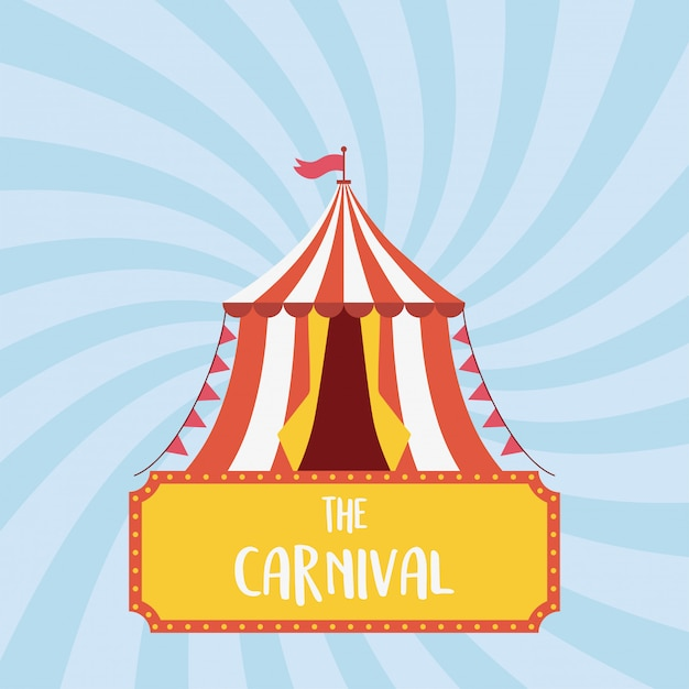 Веселая ярмарка карнавальная палатка флаг отдых развлечения Premium векторы