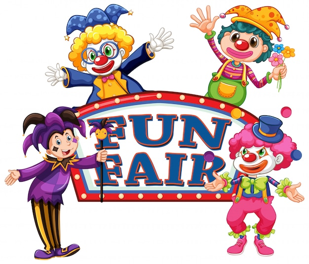 Fun fair sign template with four happy clowns Free Vector