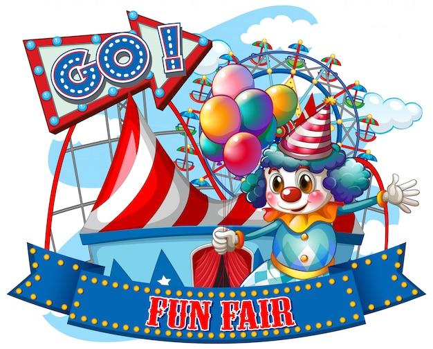 Шаблон знака fun fair со счастливым клоуном и поездками Бесплатные векторы