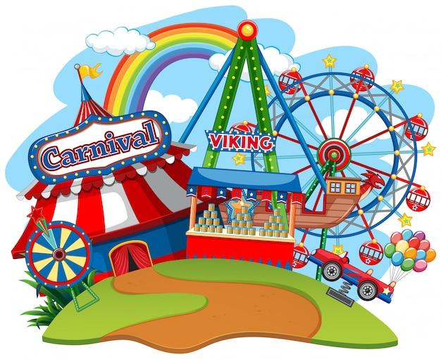 Fun fair theme park Free Vector