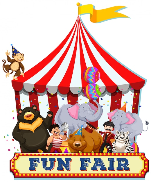A fun fair with animals Free Vector