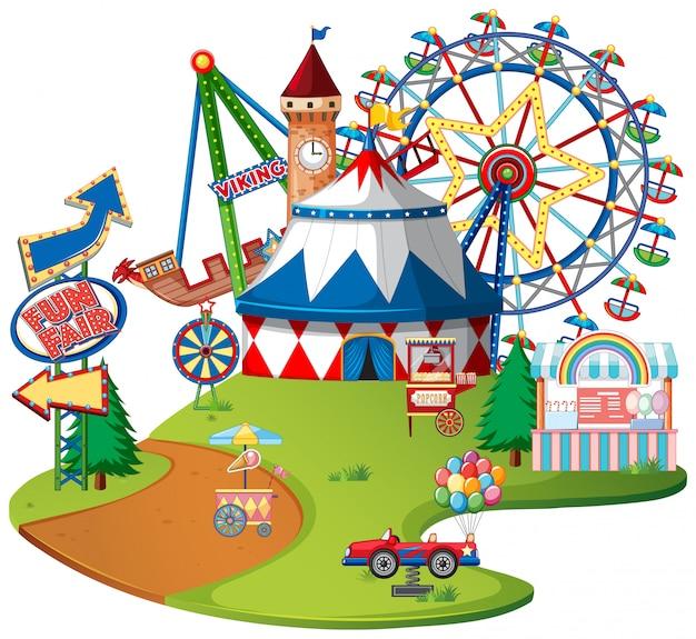 Тематический парк fun fair на изолированных Бесплатные векторы