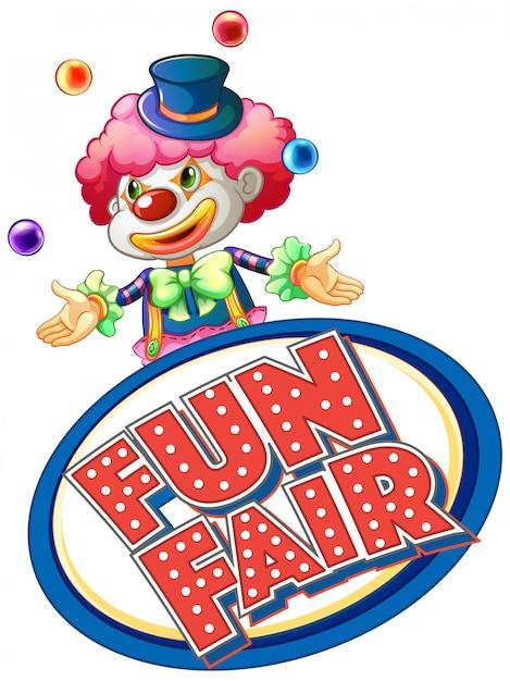 Fun fair знак со счастливыми клоуна жонглирование шарами Бесплатные векторы