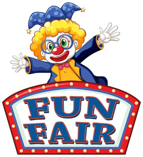 Fun fair знак со счастливым клоуном Бесплатные векторы