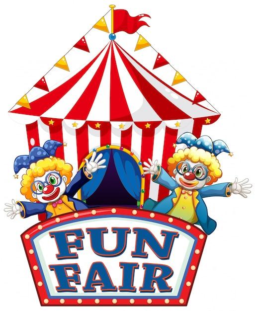 Fun fair знак со счастливыми клоунами Premium векторы