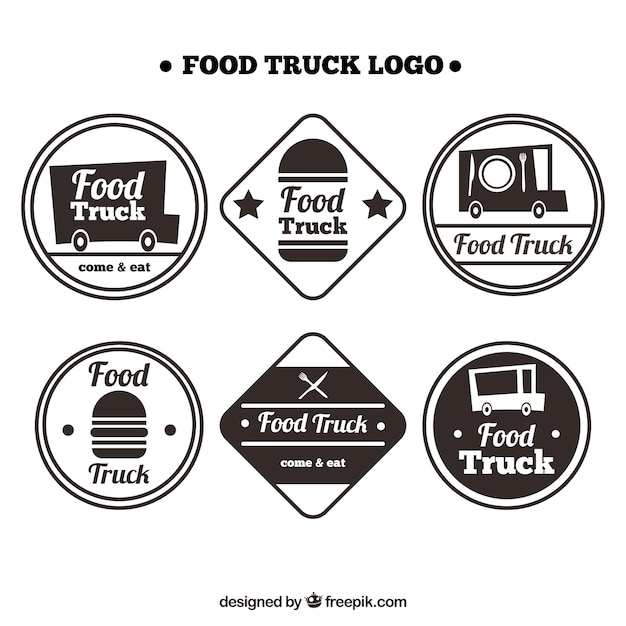 Fun food truck logos with retro style