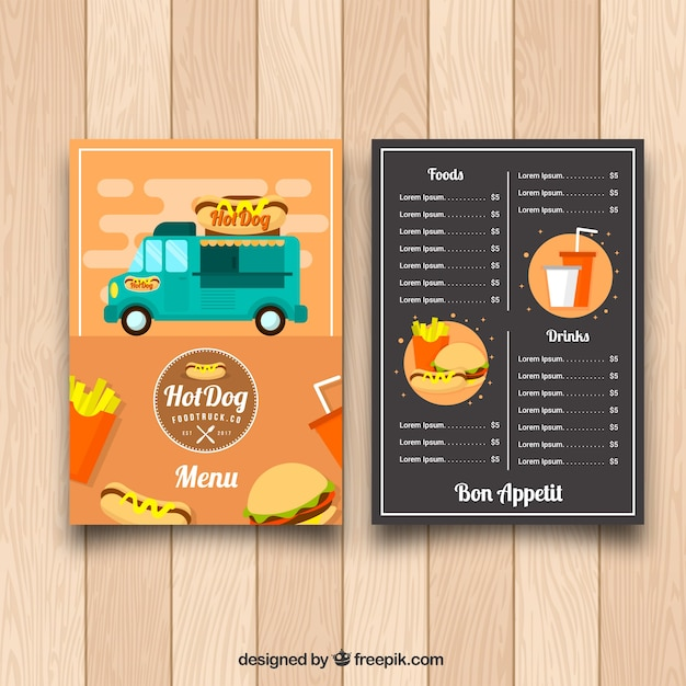Fun food truck menu with flat design
