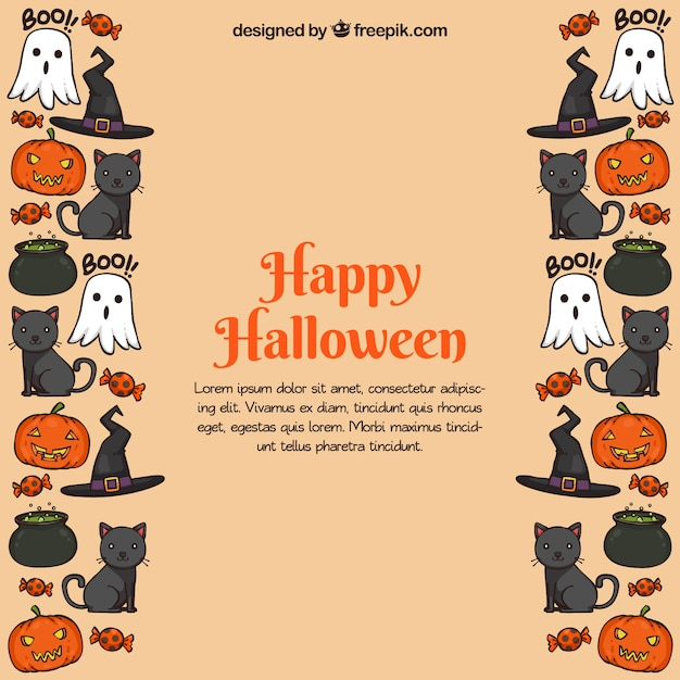 fun halloween background with classic elements vector free download