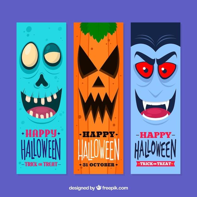 Fun halloween banner collection Free Vector