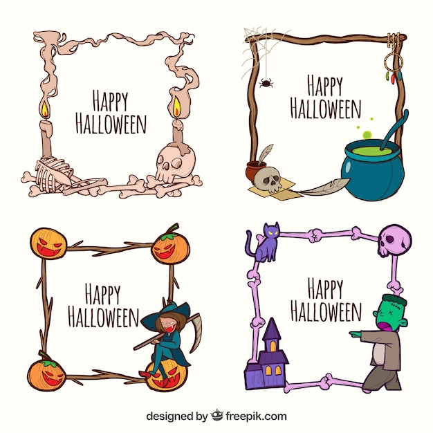 Fun halloween frames with hand drawn style Vector | Free Download