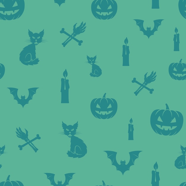 Fun halloween icons  seamless background pattern. Free Vector