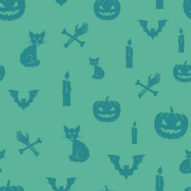 Modello senza cuciture del fondo delle icone di halloween di divertimento. Vettore gratuito