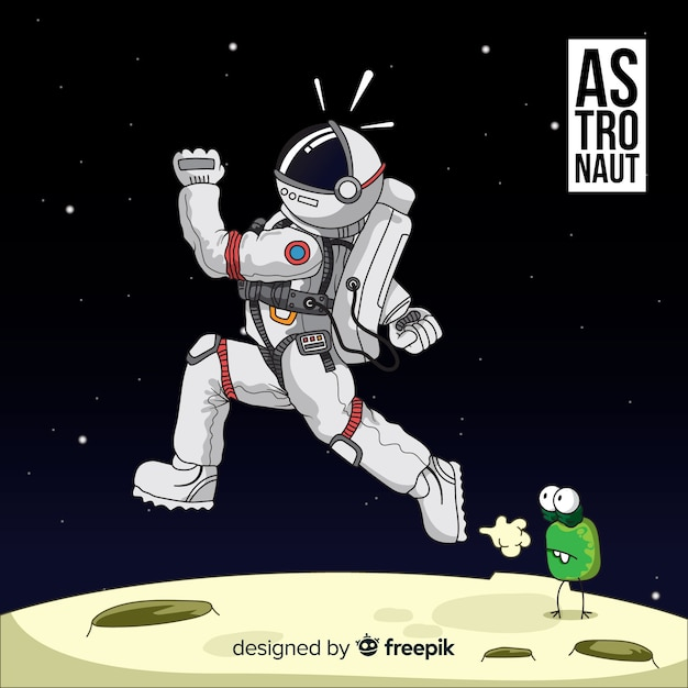Веселый персонаж космонавта Бесплатные векторы
