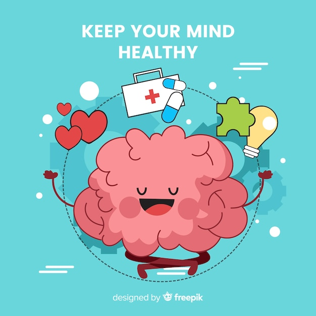 Fun hand drawn mental health concept Free Vector