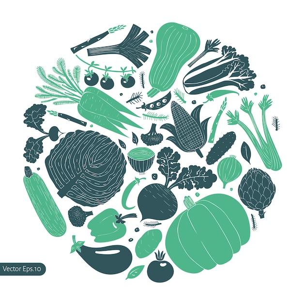 Fun hand drawn vegetables design template. Premium Vector