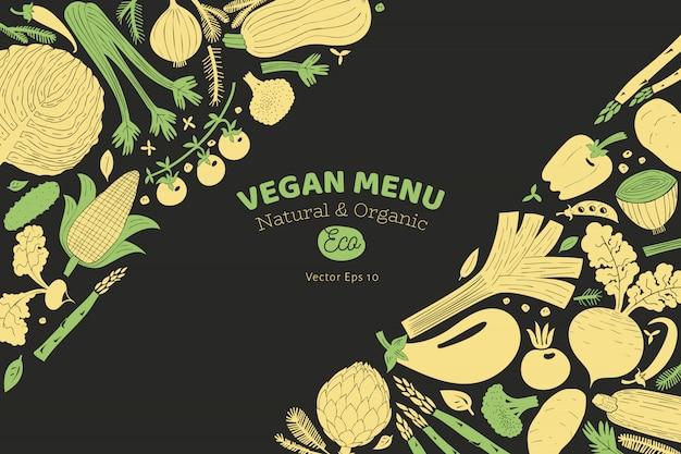 Fun hand drawn vegetables design template Premium Vector