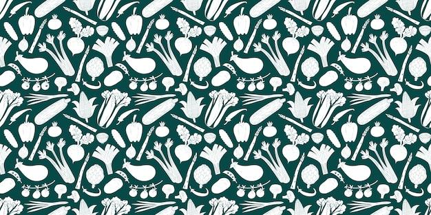 Fun hand drawn vegetables seamless pattern. Premium Vector