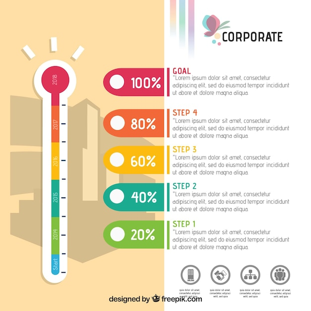 fun infographic with thermometer vector free download