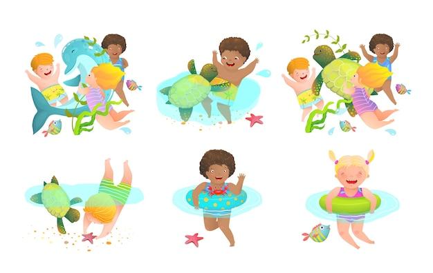 Fun kids and kindergarten cartoon water activities for children with inflatables and sea creatures.happy swimming vacation.  illustration. Premium Vector