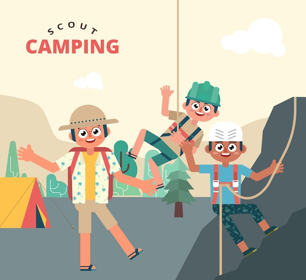 Fun kids on scout holiday camping Premium Vector