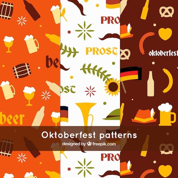 Fun oktoberfest patterns with flat design