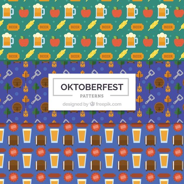 Fun oktoberfest patterns with flat drawings