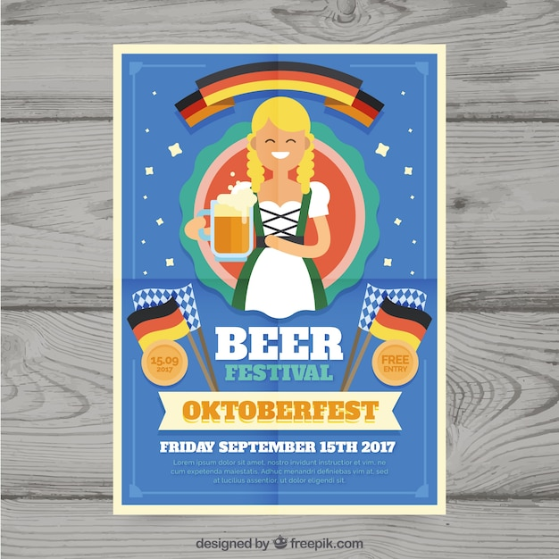 Fun oktoberfest poster with flat woman and flag