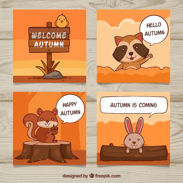 Fun pack of autumn cards with animals Free Vector