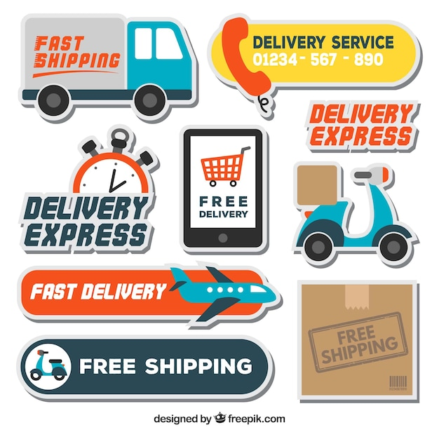 Fun pack of delivery labels Free Vector