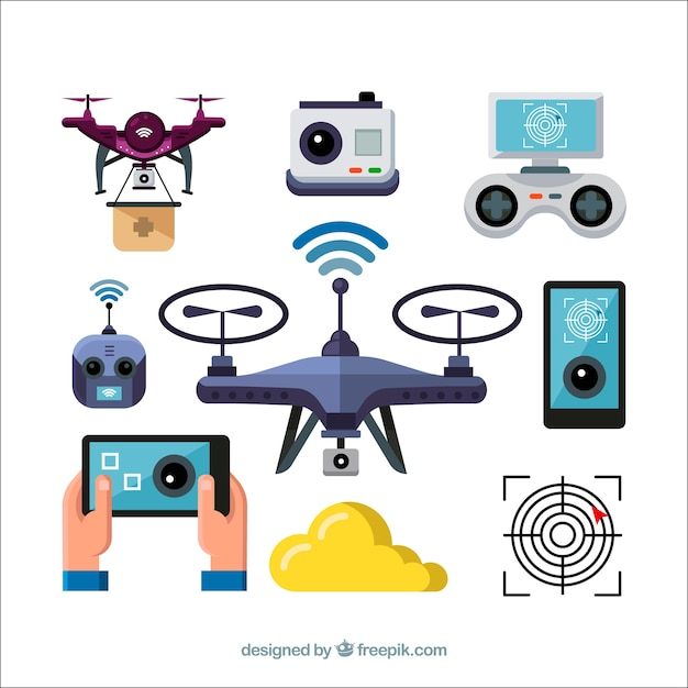 Fun pack of drones elements Free Vector