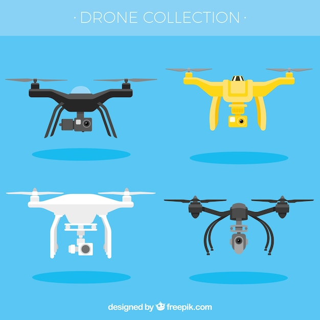 Fun pack of modern drones Free Vector