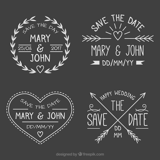 Fun pack of blackboard wedding labels