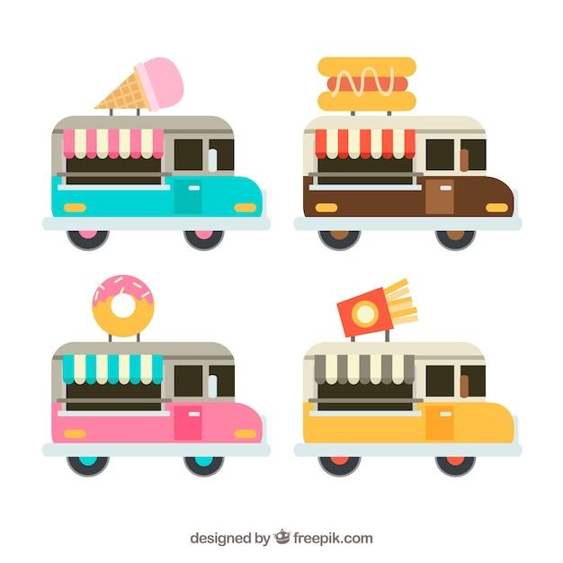 Fun pack of colorful food trucks
