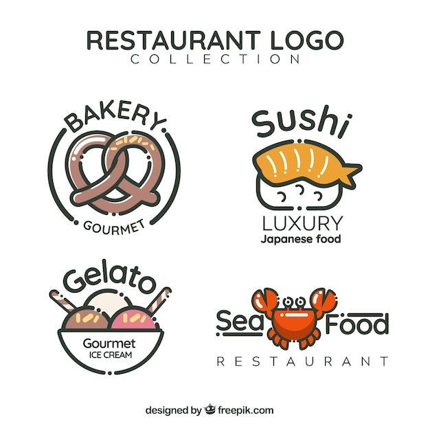 Fun pack of restaurant logos
