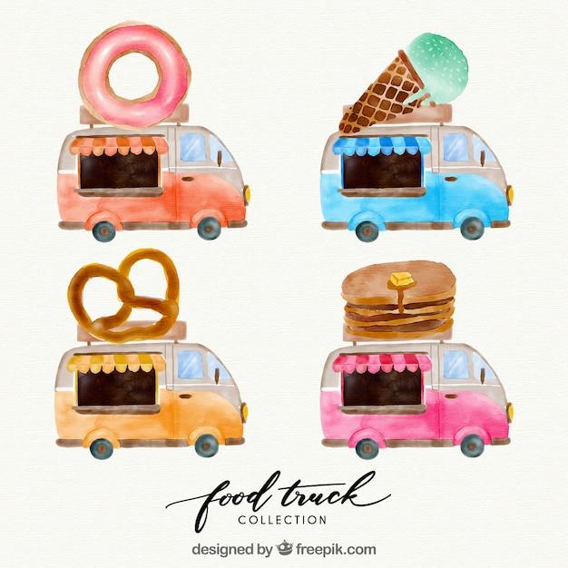 Fun pack of watercolor food trucks