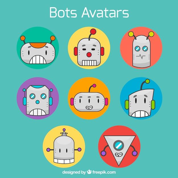 Fun pack of robots avatars Free Vector