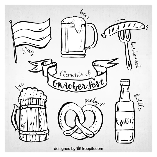 Fun pack of sketchy elements for oktoberfest Free Vector