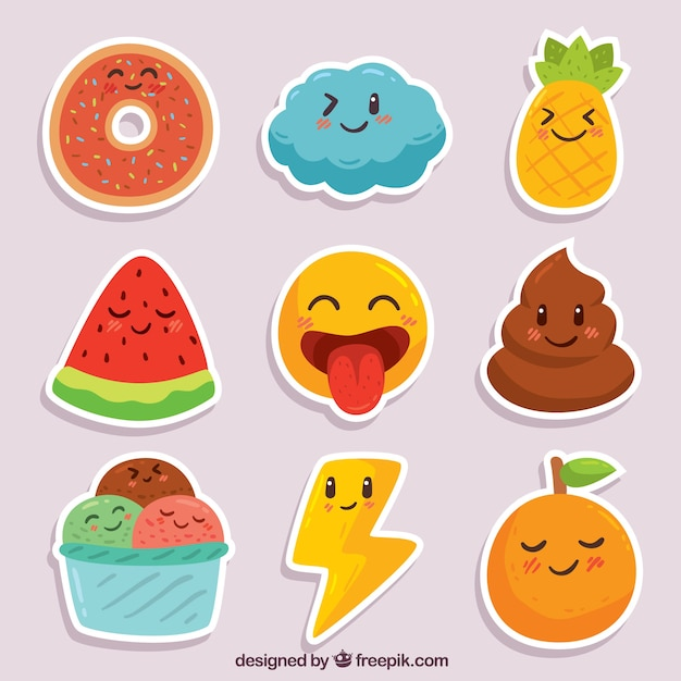 Fun pack of smiley stickers Free Vector
