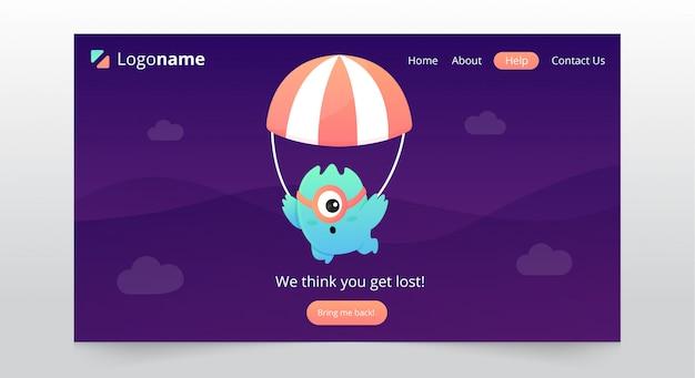 Fun page not found landing page design Premium Vector