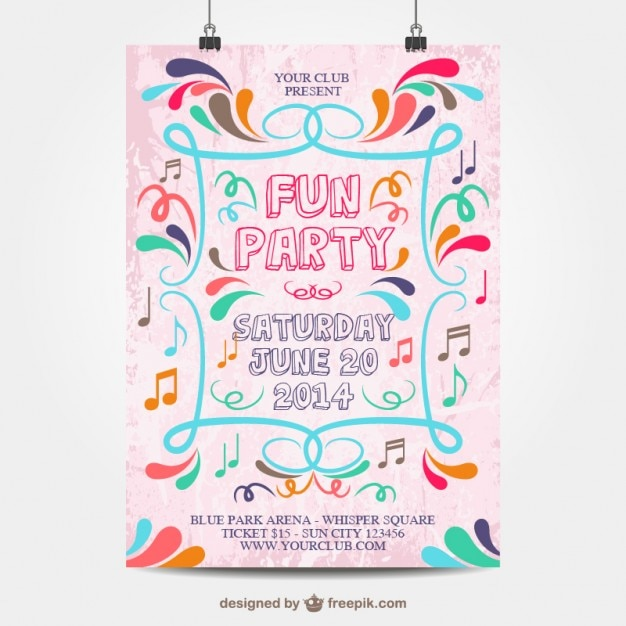 Fun party poster mock-up Vector | Free Download
