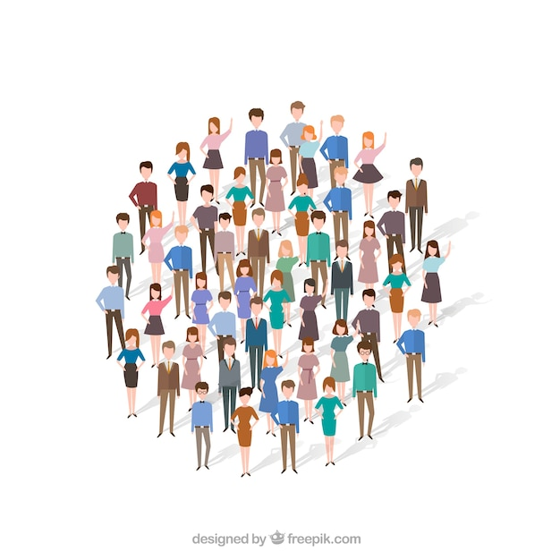 Fun people forming a circle Free Vector