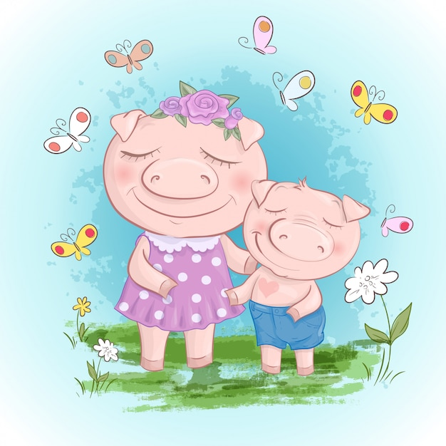 Fun pig family mother and son. funny cartoon pigs and piglet friends or family. Premium Vector