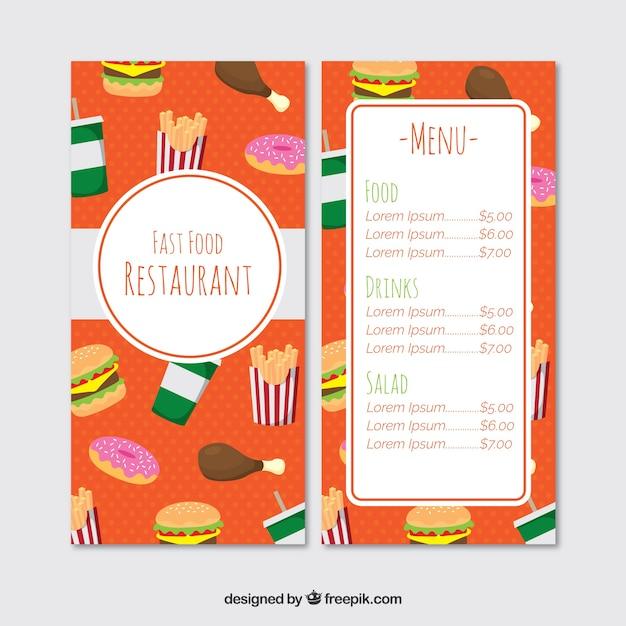 Fun restaurant menu, fast food