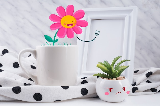 Fun scene of cup and illustrated plants interacting Free Vector