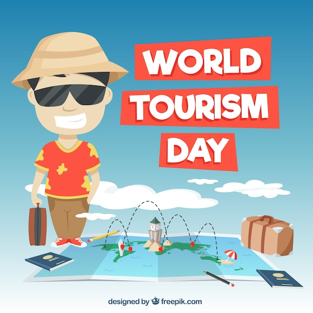 Fun scene for world tourism day Free Vector
