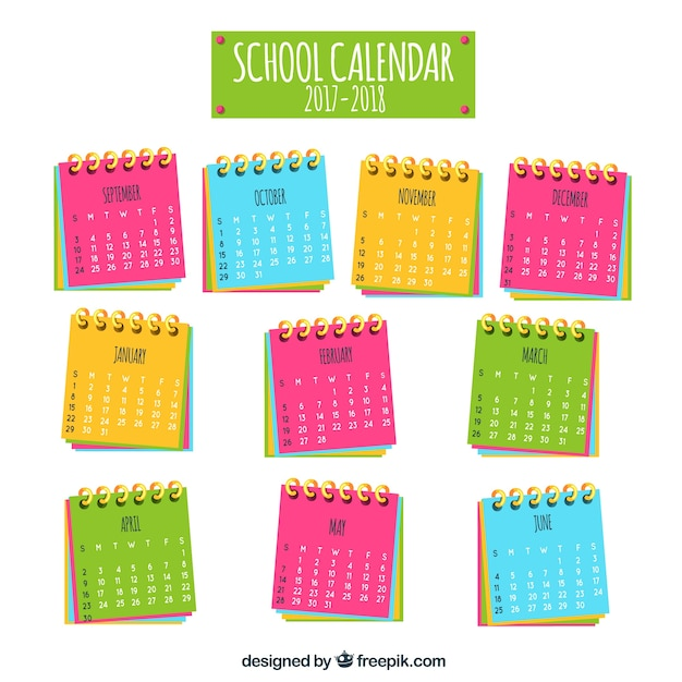 Fun school calendar with colorful notebooks