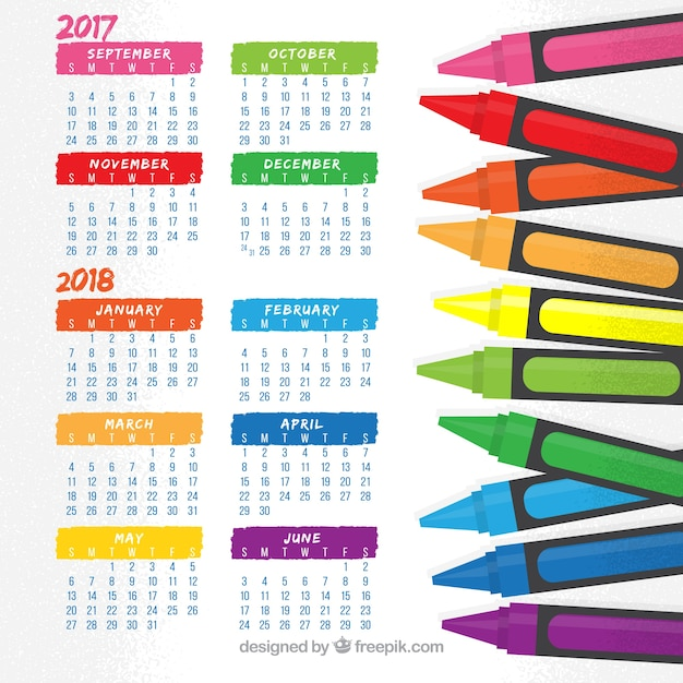 Fun school calendar with crayons
