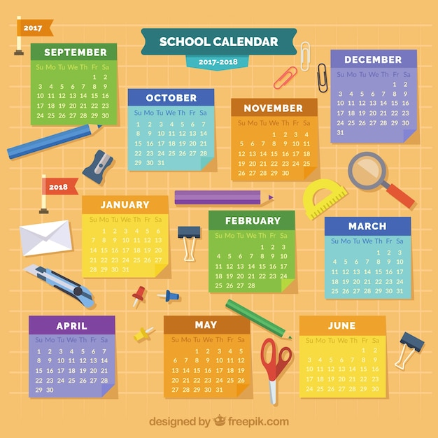 Fun school calendar with flat material