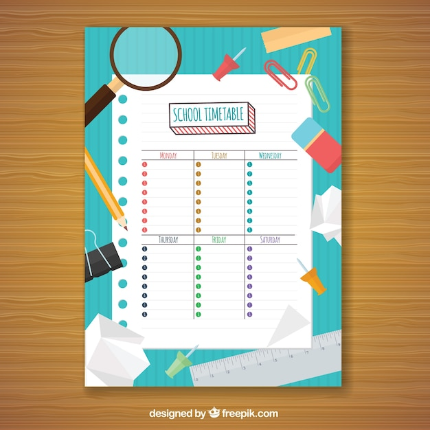 Fun school elements and weekly planner